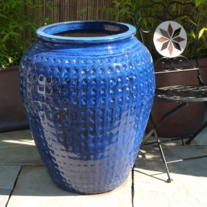 Glazed Dimpled Water Jar Blue Small-0