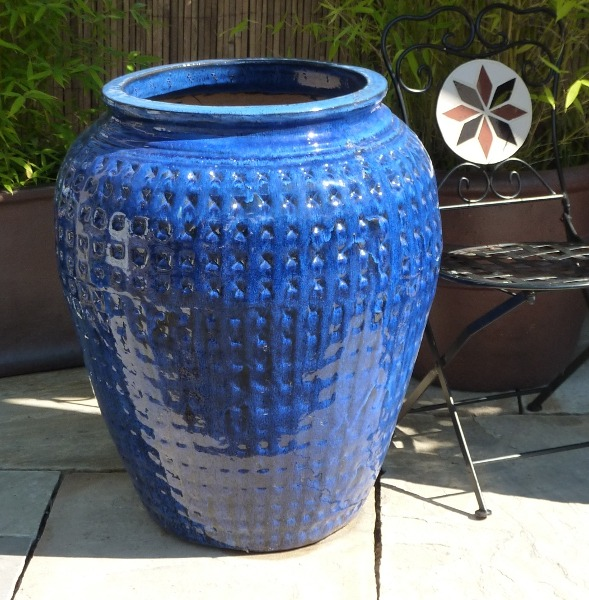Glazed Dimpled Water Jar Blue Large-0