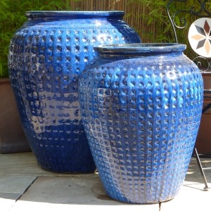 Glazed Dimpled Water Jar Blue Large-653