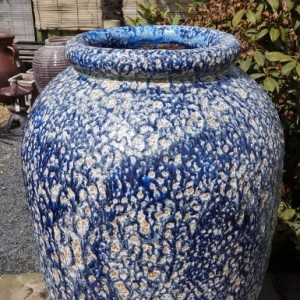 Blue Tall Textured Jar-269