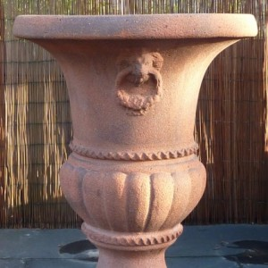 Old Stone Giant Lion Head Urn-0