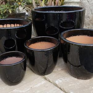 Glazed Egg Pot Black-143