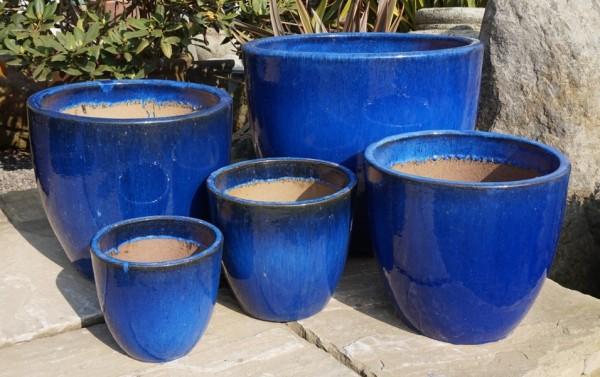 Glazed Egg Pot Blue Medium-154