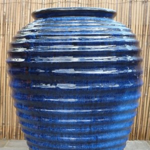 Glazed Horizontal Ribbed Jar-0