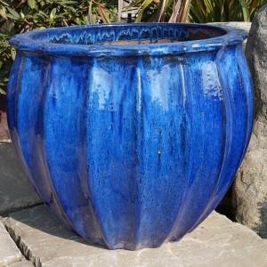 Glazed Star Fruit Pot Blue-0