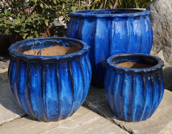 Glazed Star Fruit Pot Blue-58