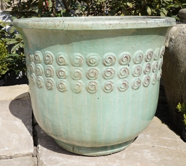 Green Bell Pot with Swirls Medium-0
