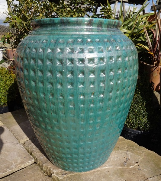 Green Dimpled Water Jar Large-0