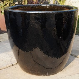 Glazed Egg Pot Black Medium-0