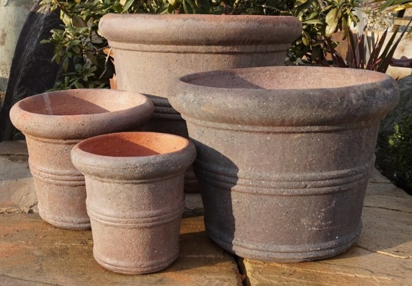 Old Stone Straight Sided 3 Ring Pot-405