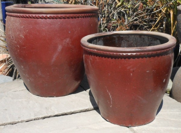 Glazed Mandarin Pot Red-582