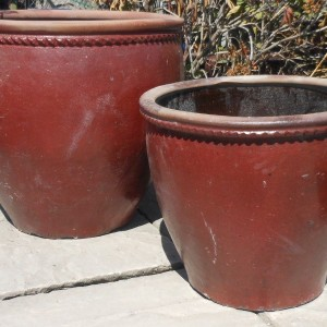 Glazed Mandarin Pot Red Medium-584