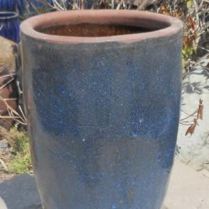 Glazed Tall Rimless Jar Blue Medium-0