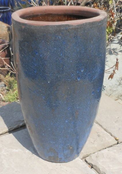Glazed Tall Rimless Jar Blue Medium-0