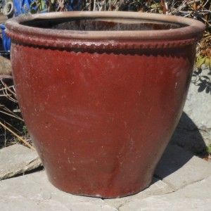Glazed Mandarin Pot Red Medium-0
