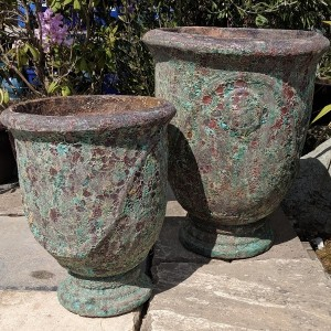 Atlantis Pedestal Pot Burnt Green-751