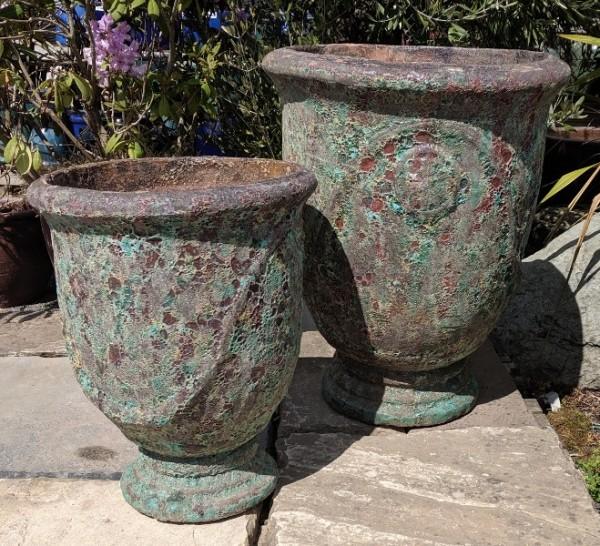 Atlantis Pedestal Pot Burnt Green-751