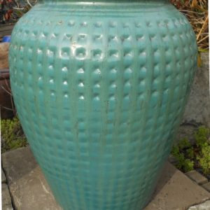 Glazed Dimpled Water Jar Green Large-0