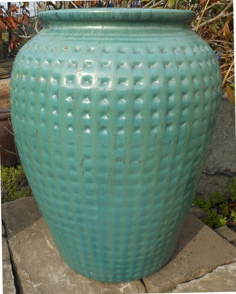 Glazed Dimpled Water Jar Green Small-0