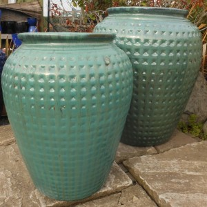 Glazed Dimpled Water Jar Green Large-646