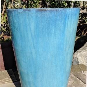 Glazed Tall Tapered Cylinder Aqua Green Medium-0
