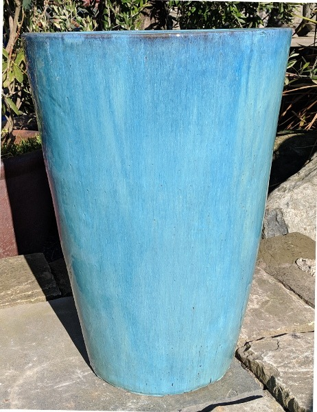 Glazed Tall Tapered Cylinder Aqua Green Medium-0
