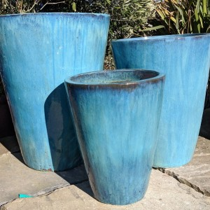 Glazed Tall Tapered Cylinder Aqua Green-719