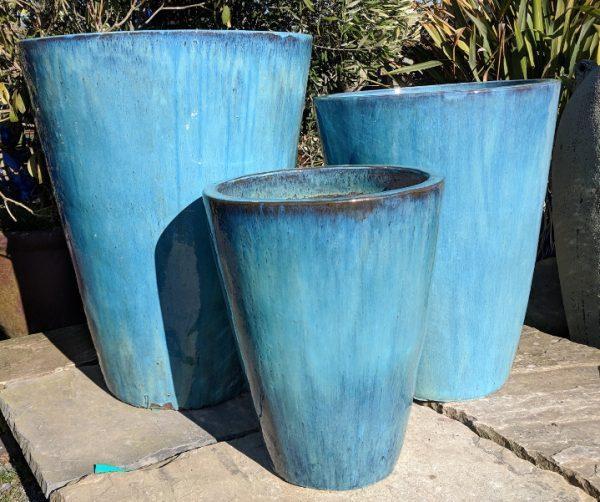 Glazed Tall Tapered Cylinder Aqua Green Medium-721
