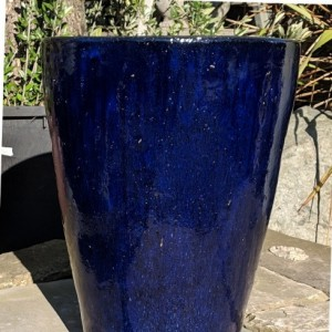 Glazed Tall Cylinder Pot Blue Small-0