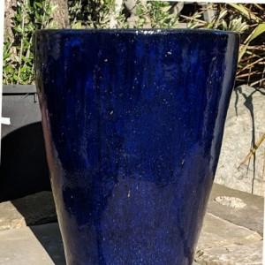 Glazed Tall Cylinder Pot Blue Small-0