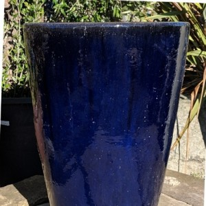 Glazed Tall Tapered Cylinder Blue Medium-0
