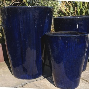 Glazed Tall Cylinder Pot Blue Small-772