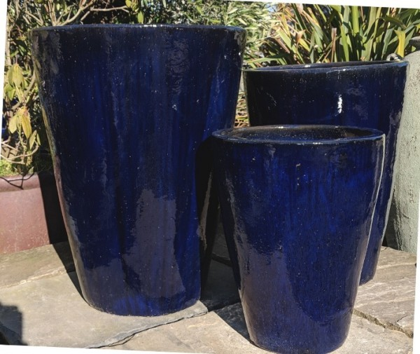 Glazed Tall Cylinder Pot Blue Small-772